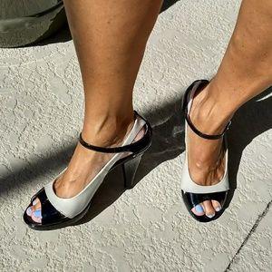 Black & Nude Franco Sarto Patent Leather Heels